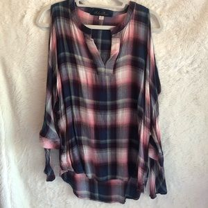Francesca's Navy Blue Pink Plaid Cold Shoulder Top